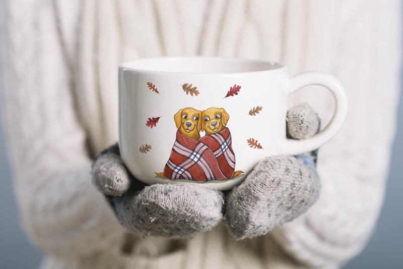 dog-039-s-autumn-watercolor-set-illustrations-cute-dog