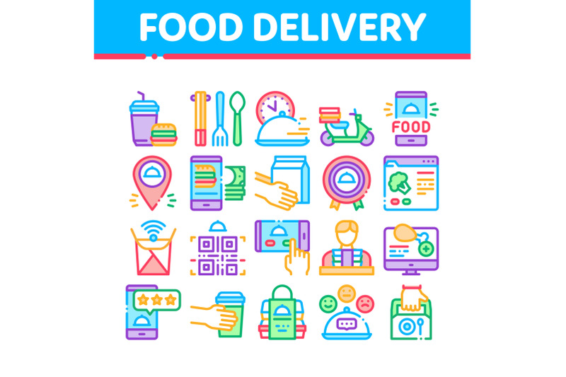 food-delivery-service-collection-icons-set-vector