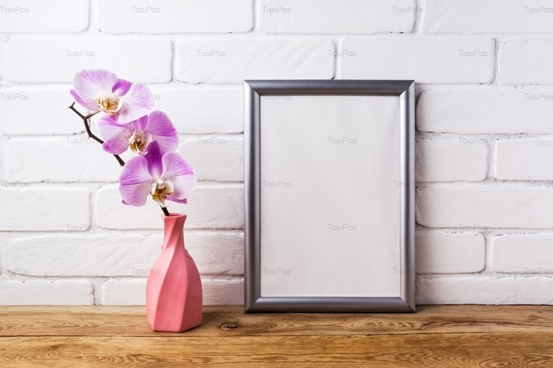 silver-frame-mockup-with-orchid-in-pink-twisted-vase