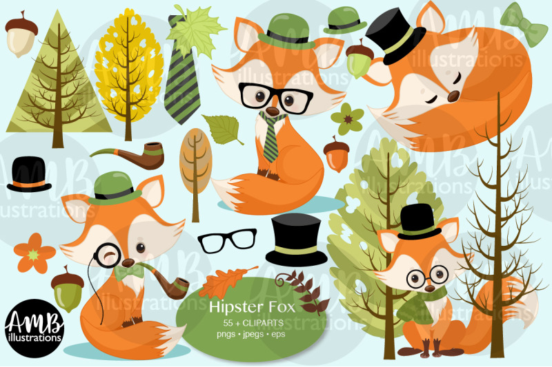 hipster-fox-clipart-2807