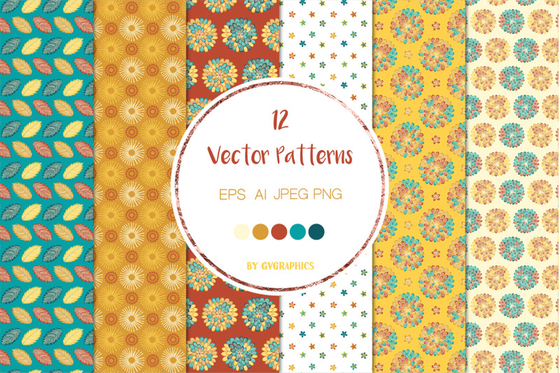 12-autumn-flowers-and-leaves-vector-patterns