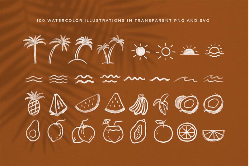 tropical-summer-illustration-set