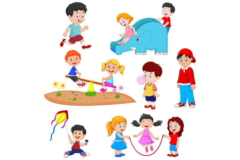 cartoon-kids-playing-vector-set