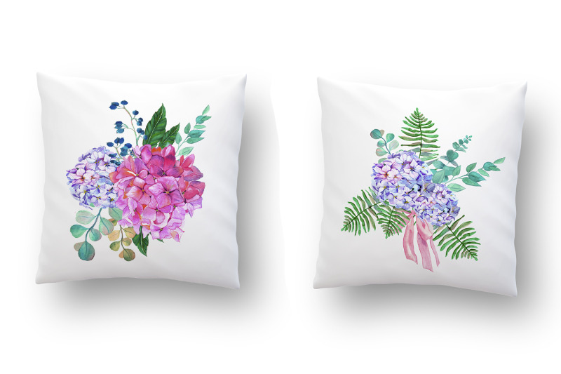 watercolor-pink-and-blue-hydrangea-with-tropical-leaves-and-eucalyptus