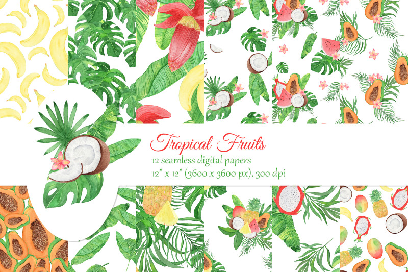 watercolor-tropical-fruits-digital-papers-palm-leaves-seamless-patter
