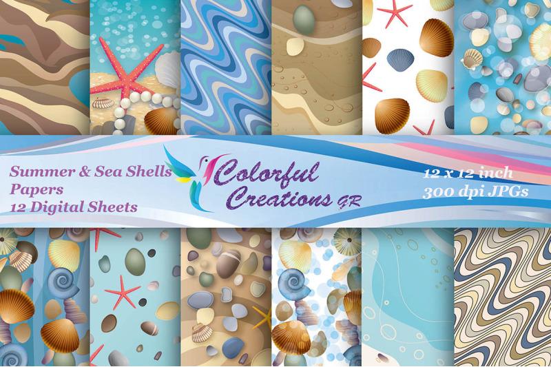 sea-shells-digital-papers-summer-digital-papers-starfish-papers-sea