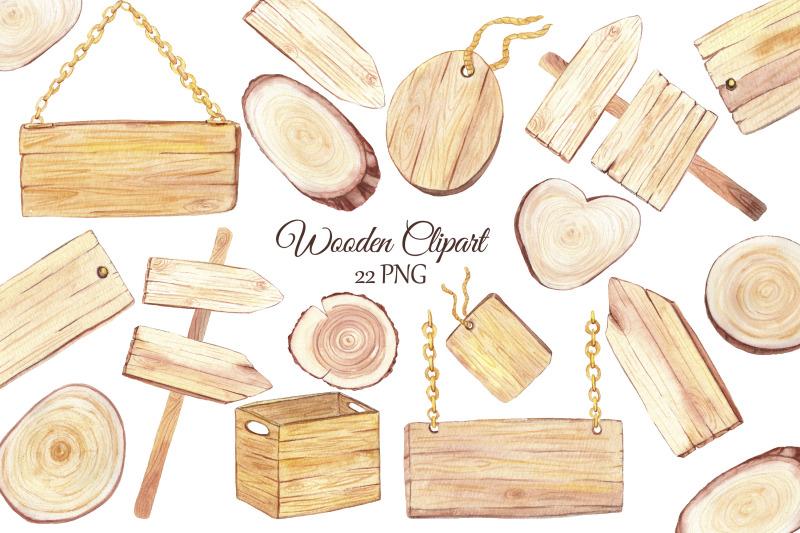 watercolor-wood-slice-clipart-wooden-rustic-elements