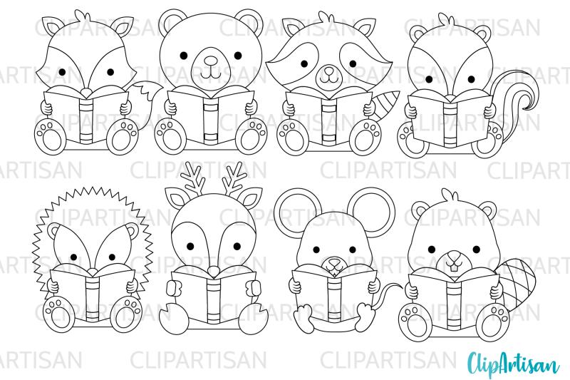 woodland-animals-reading-clip-art-back-to-school