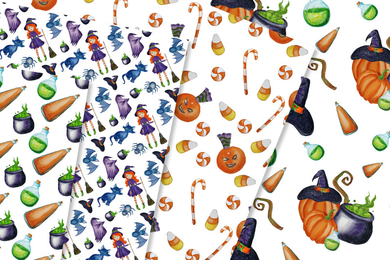 halloween-digital-papers-with-cute-witch-ghost-cat-pumpkins-hallow