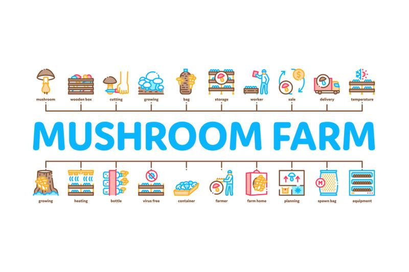 mushroom-farm-plant-minimal-infographic-banner-vector