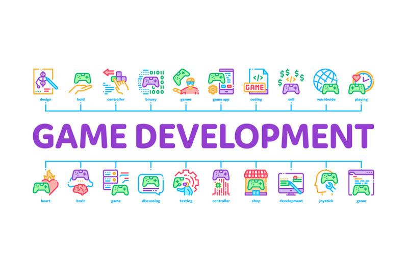 video-game-development-minimal-infographic-banner-vector