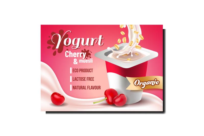 yogurt-with-cherry-and-muesli-promo-poster-vector