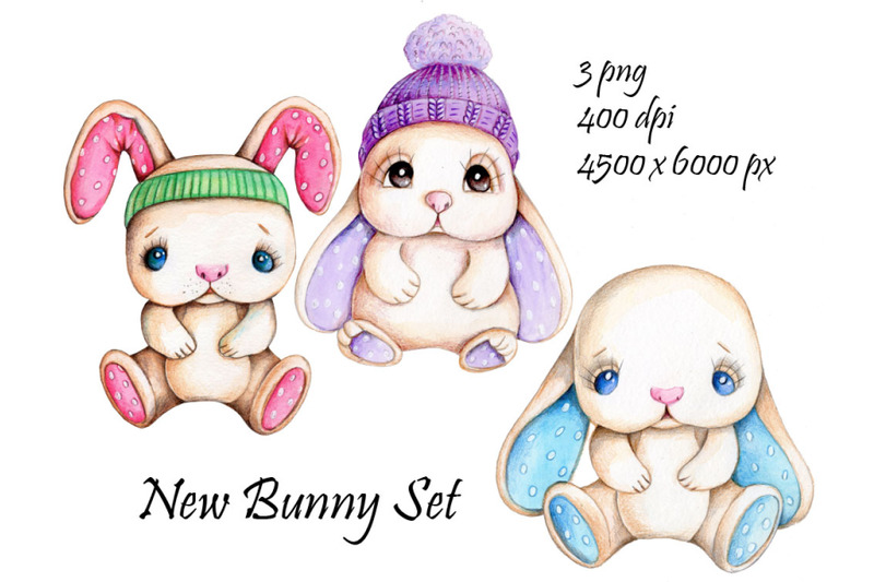 new-bunny-set-watercolor-illustrations