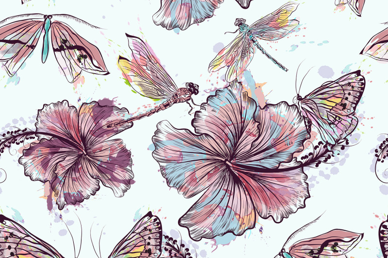 seamless-vector-hibiscus-pattern