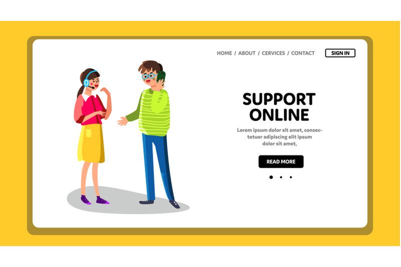 support-online-phone-operator-help-service-vector