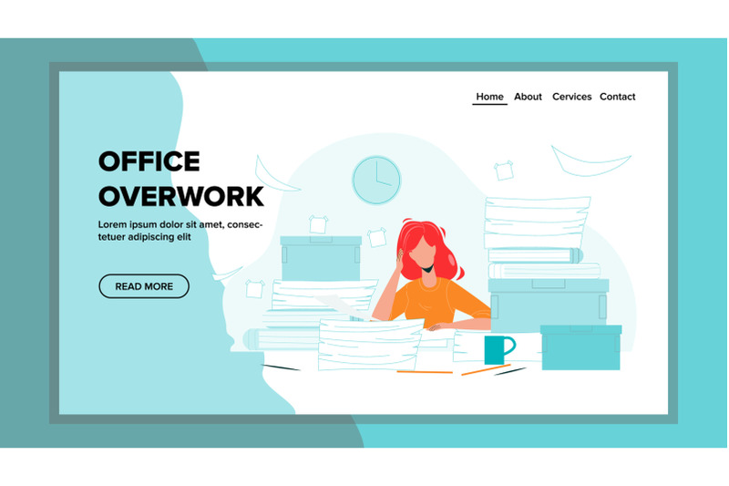office-overwork-sadness-woman-working-place-vector