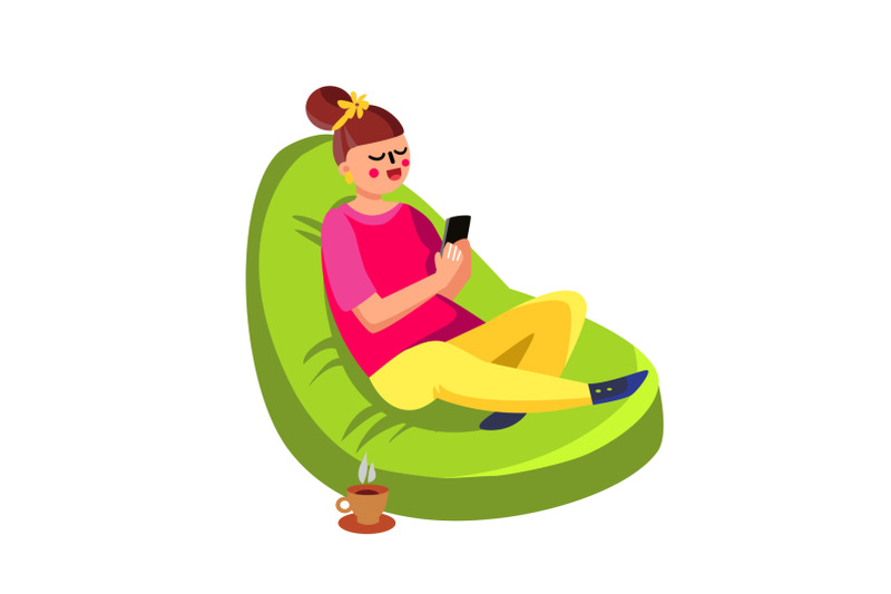 girl-sitting-in-beanbag-and-using-cell-phone-vector