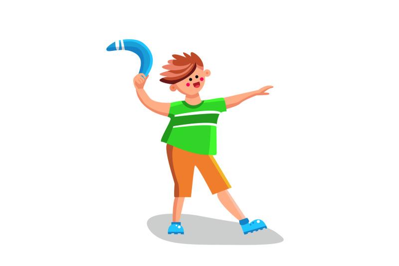 boy-throwing-boomerang-playing-equipment-vector-illustration