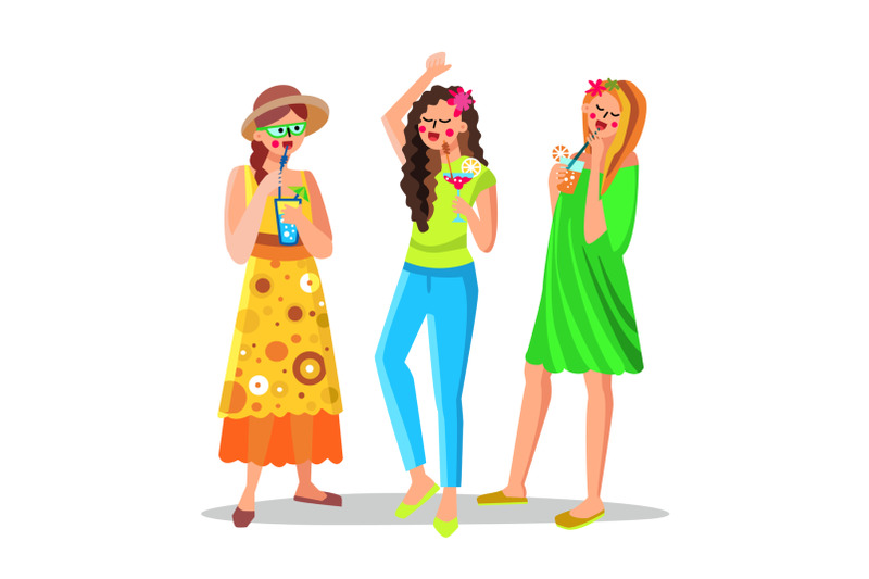 women-alcoholic-or-non-alcoholic-cocktail-vector-illustration