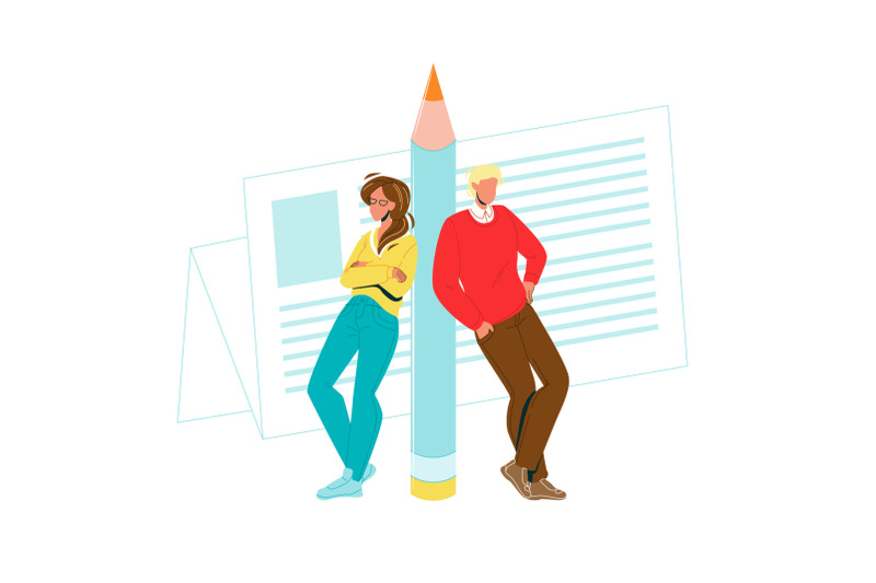 copywriters-man-and-woman-leaned-pencil-vector