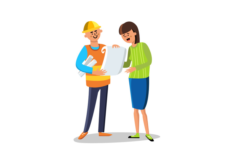 engineer-builder-discussing-with-woman-vector-illustration