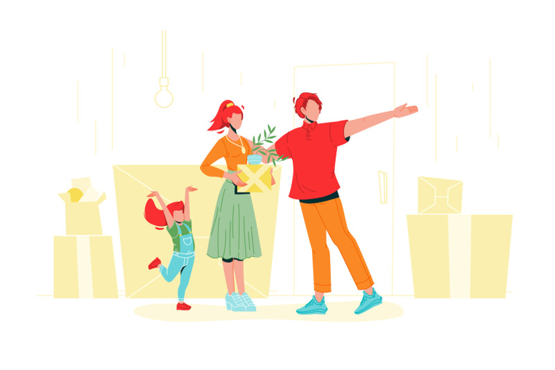 family-with-carton-boxes-moving-in-house-vector
