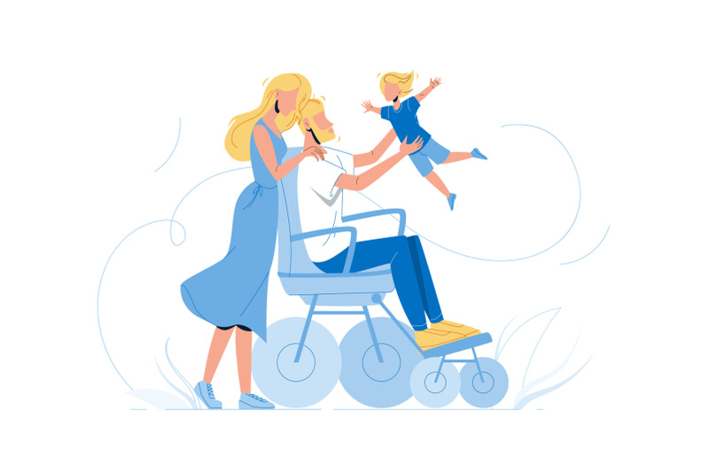 father-man-in-wheelchair-playing-with-son-vector