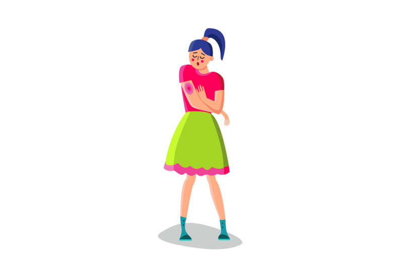 young-woman-with-rash-on-hand-character-vector