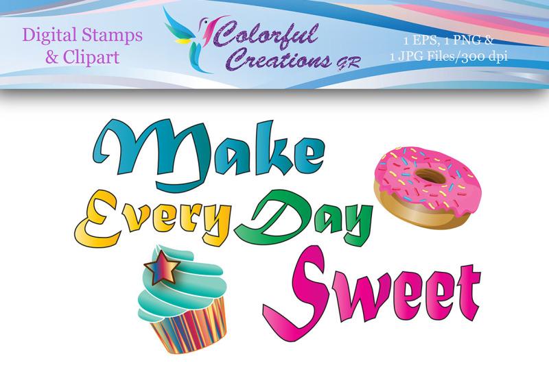 make-every-day-sweet-digital-stamp-sweet-cupcake-stamp-donut-stamp