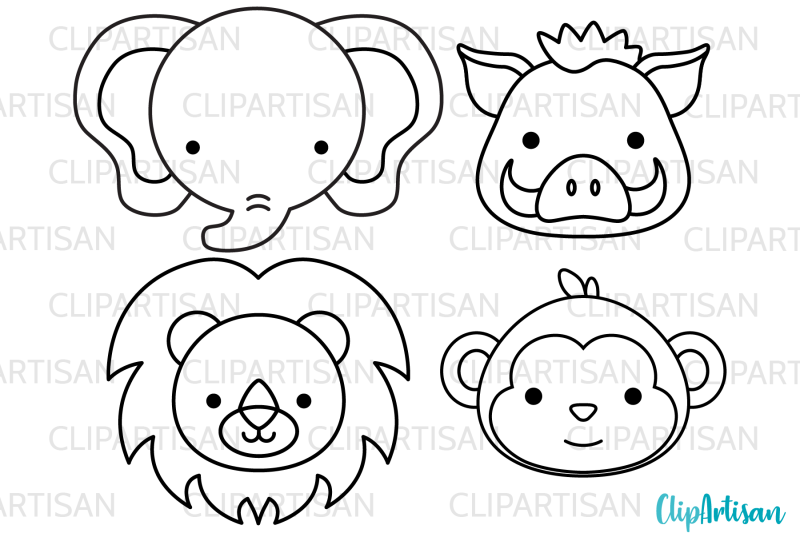 african-animal-faces-clipart-safari-animals-digital-stamps
