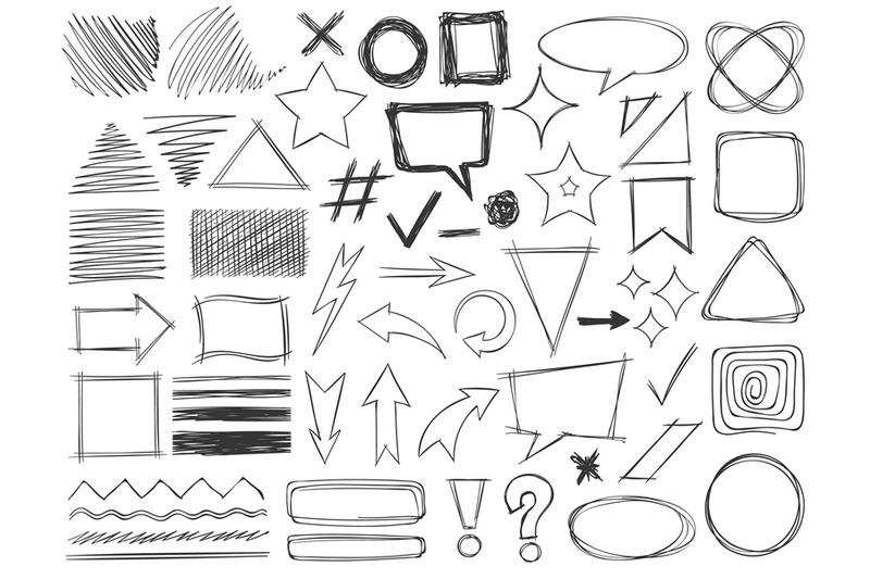 doodle-shapes-drawings-pencil-monochrome-textures-strokes-arrows-and