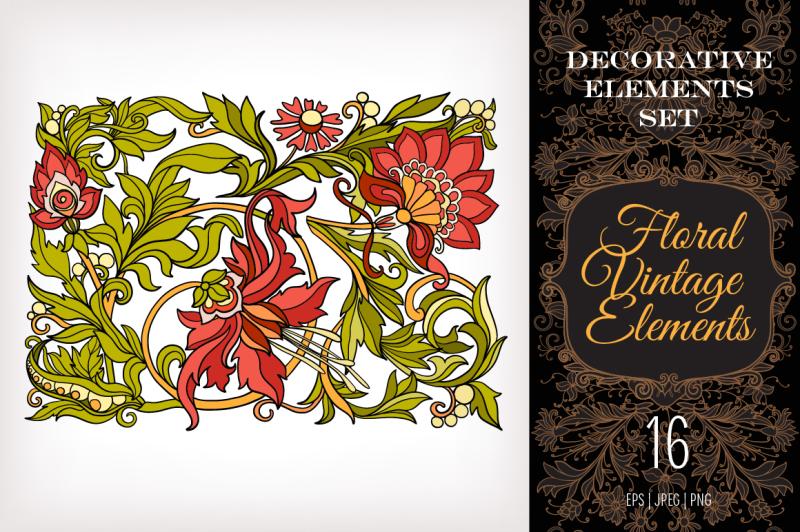 16-floral-elements-set