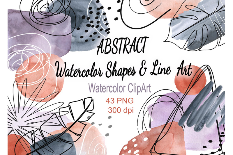 abstract-neutral-watercolor-stains-shapes-clip-art-modern-line-art-de