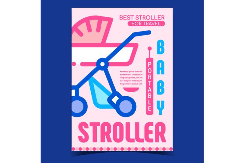 baby-portable-stroller-advertising-banner-vector