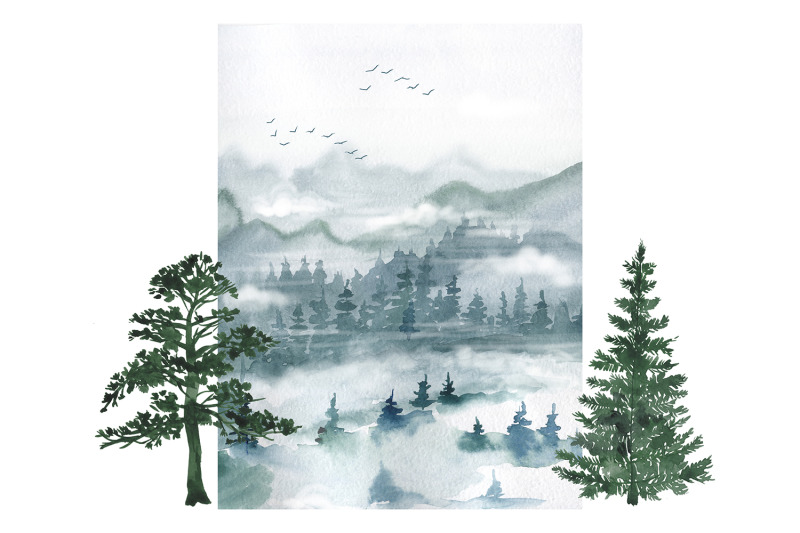 watercolor-forest-digital-clipart-set-forest-trees-pines-mountains