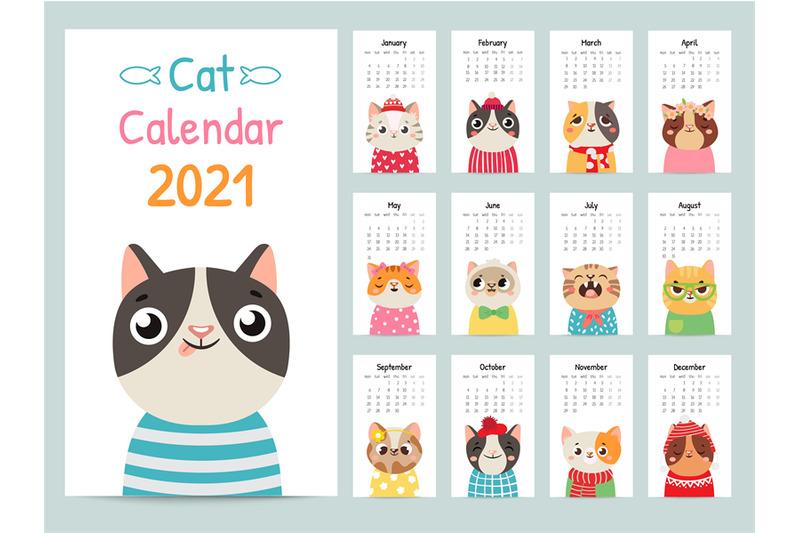 Cat calendar. Color gift 2021 calendar with cute cats ...