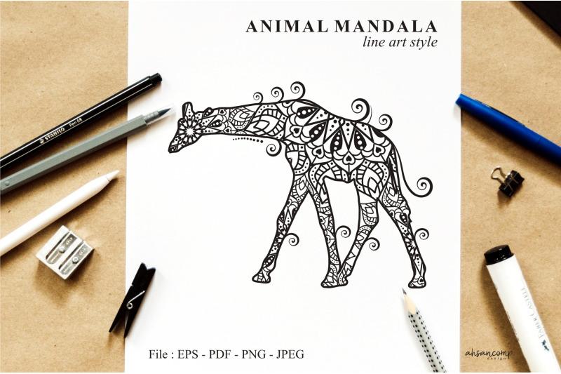 giraffe-mandala-vector-line-art-style