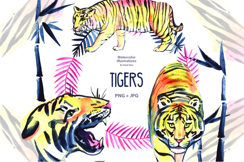 watercolor-tigers-and-bamboo