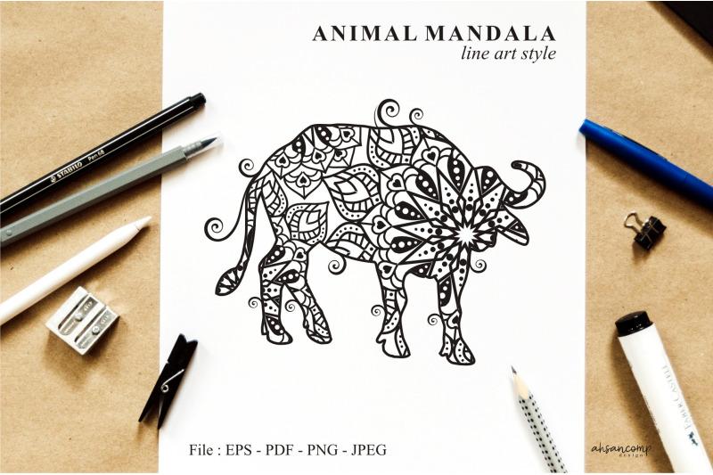 buffalo-mandala-vector-line-art-style