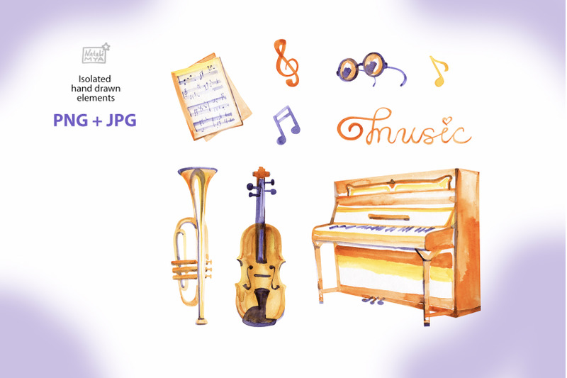 music-around-watercolor-cliparts