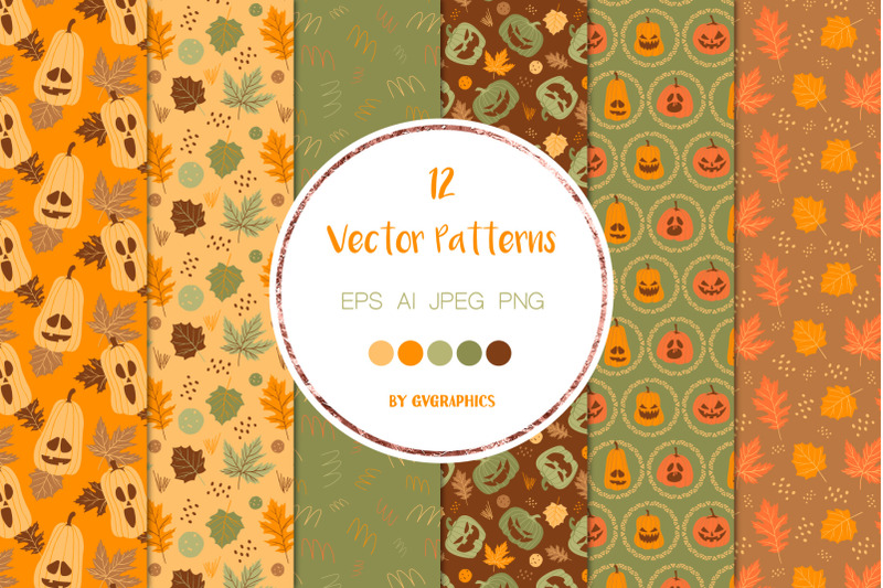 12-halloween-pumpkins-and-fall-leaves-vector-patterns