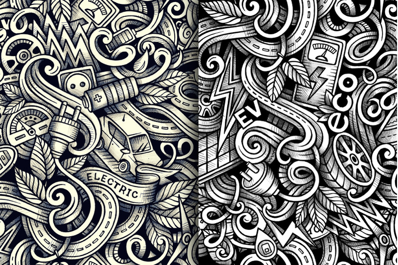 electric-cars-graphics-seamless-patterns