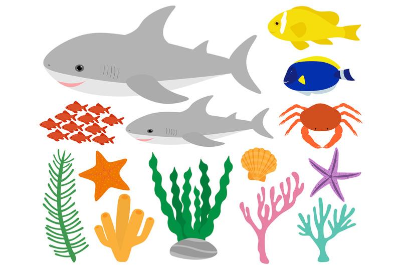 set-cute-shark-and-sea-elements-vector