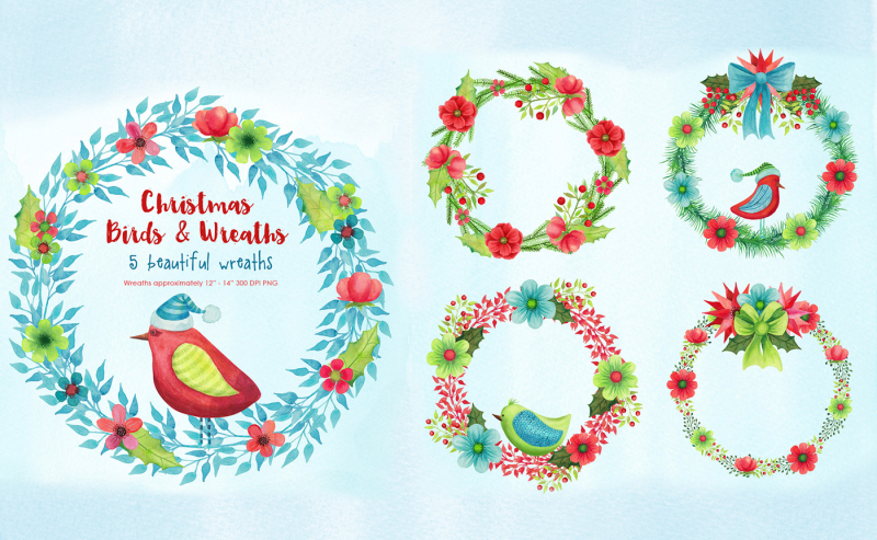 christmas-birds-and-wreaths-watercolors