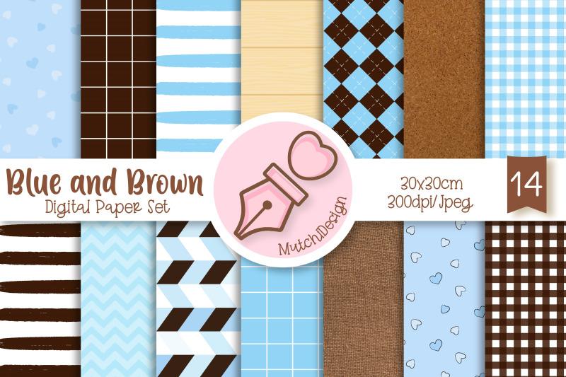 blue-and-brown-digital-paper-set