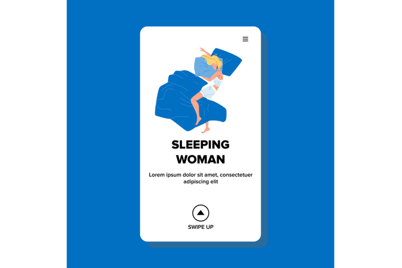 sleeping-woman-in-comfortable-bedroom-bed-vector