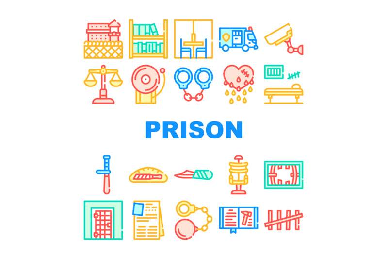 prison-building-and-accessory-icons-set-vector