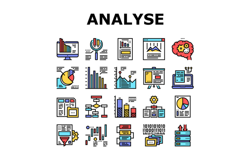 analyze-infographic-collection-icons-set-vector