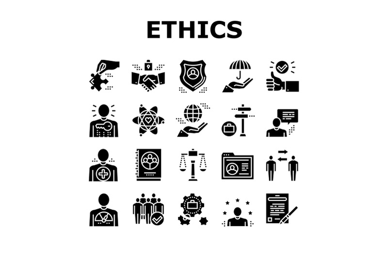 business-ethics-moral-collection-icons-set-vector