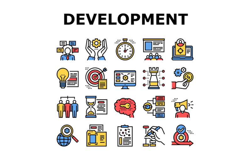 project-development-collection-icons-set-vector